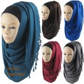 Scarf New Women 2016 Female Rayon Monochrome Shimmer Hijab Plain Muslim Islamic Shawl 170*60 cm Mix Color Hijabs Free Shipping