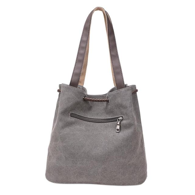 Casual Women Large Capacity Tote Canvas Shoulder Bag Female Lace Print Shopping Bag Beach Handbags 2