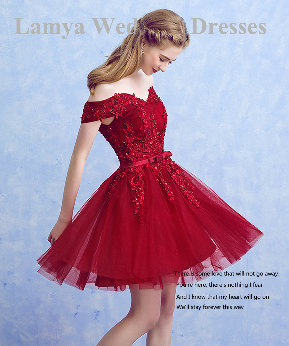 LAMYA Sexy Red Lace Elegant Knee Length Prom Dresses 2018 New Arrived Women Beading A Line Evening Party Dress With Bow 9