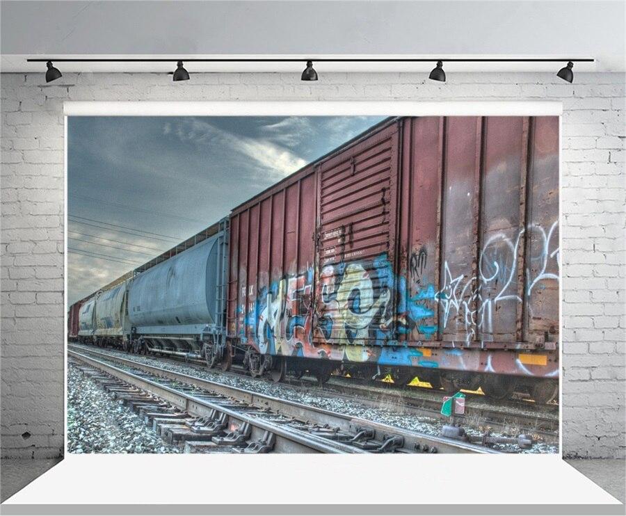 Laeacco граффити поезд Cabin железной дороги пейзаж фотографии фонов Виниловый фон пользовательские фото Фоны для фотостудии