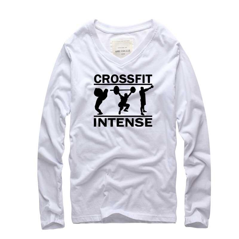 2017 CrossFit fitness Camisetas hombres manga larga de algodón v ...