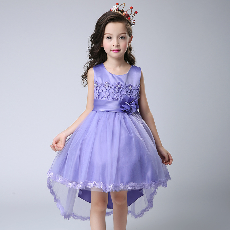 White/pink/purple Toddler Girls Birthday Festival Show Stage Lace Organza Ball Gown Princess Lovely Bowknot Decor Formal Dress new arrival hot sale toddler princess girls sleeveless ball gown costume latin show fashion formal dancing dress