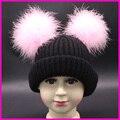 Muchachas del invierno Sombreros Niños Reales Doble Pompón De Piel Sombrero Gorros Bebés Niños Niños Espesar Warm Caps