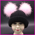 Winter Girls Hats Children Real Double Fur Pompom Hat Baby Beanies Kids Boys Thicken Warm Caps