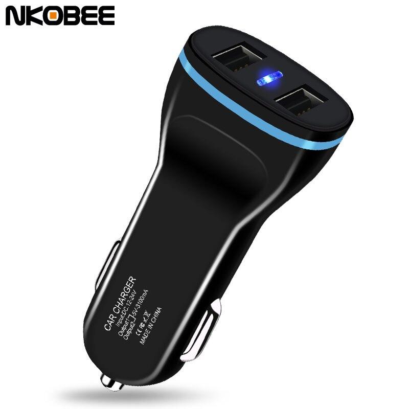 NKOBEE Dual USB Car Charger 3.1A Universal Fast Smart Car