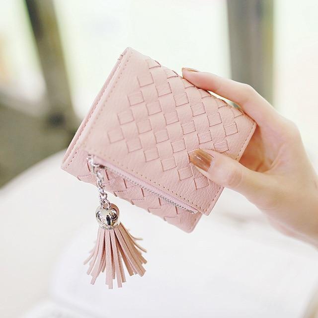 3c3b6d2b5f7 US $11.61 |2017 new hand woven Women Wallet, PU Leather Female Korean Cute  short tassel zipper bag,3 folding small ,lady Coin purse,gift-in Wallets ...