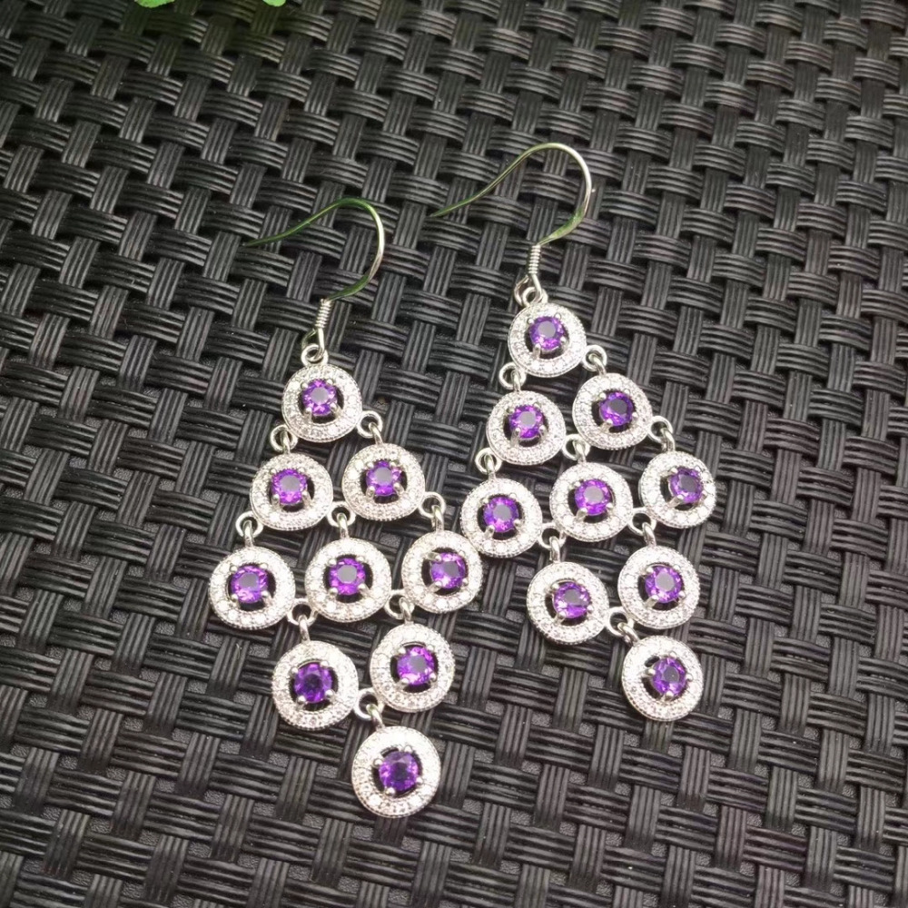 Natural amethyst  drop round earrings 925 silver natural gemstone earrings Stylish elegant women Slender Earrings jewelryNatural amethyst  drop round earrings 925 silver natural gemstone earrings Stylish elegant women Slender Earrings jewelry