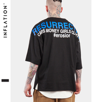 INFLATION 2017 Summer Collection High Street Men Tshirt Oversized T Shirt Hip Hop Style Loose Sleeve