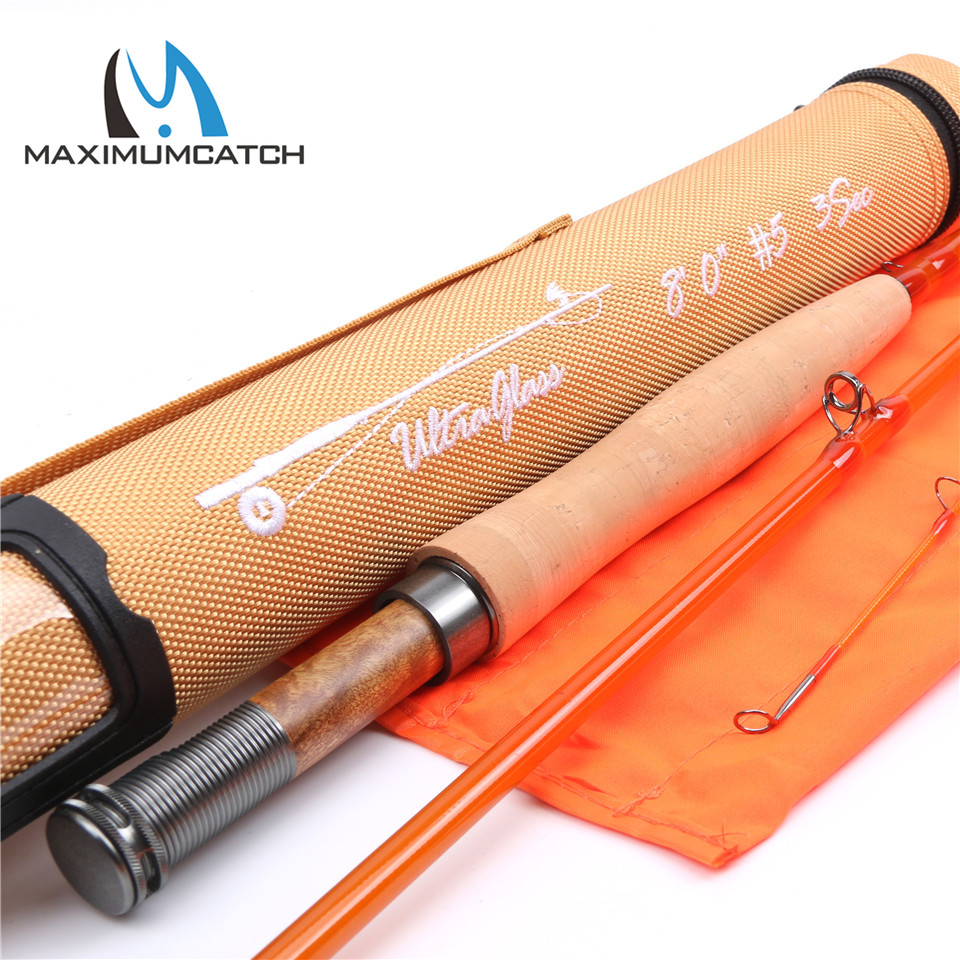 Maximumcatch High Quality 8ft 5wt 3sections Fly Rod Transparent Fiberglass Fishing Rod With Cordura Tube crony st8003 3 gc pro stream series rod weight 79g 8 0 3 3pieces fly rod 6 15g fishing rod