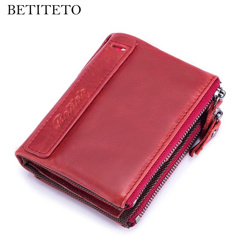 Betiteto Rfid Erste Schicht Aus Echtem Leder Frauen Brieftasche Weibliche Mini Geldbörse Carteras Smart Kashelek Portomonee Partmone Cuzdan