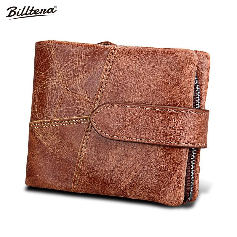 Crazy Horse Leather Man Wallet, Leather Short RFID Anti Theft Men's Wallets, Double Zipper Purse