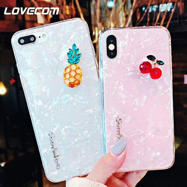 LOVECOM de textura de dibujos animados lindo de fruta de la piña de caso para iPhone 6 6 S 7 7 Plus X de cuerpo completo funda trasera de teléfono suave regalo