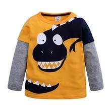 Летние футболки для девочек Костюмы с длинными рукавами, хлопок, с проектом динозавра из мультфильма, Детские футболки для девочек, От 2 до 8 лет высокое качество, детские футболки