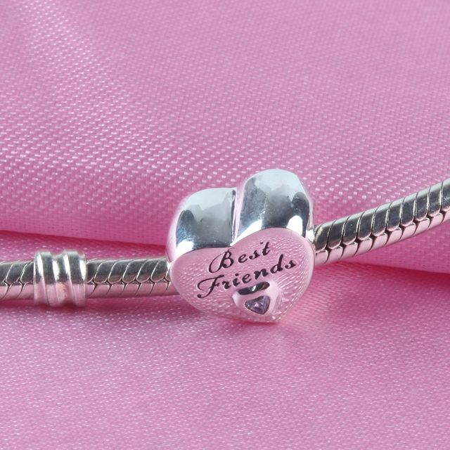 ZMZY Solid Original 925 Sterling Silver Charms Best Friends CZ Heart Love Beads fit Pandora Bracelet for Women Gift