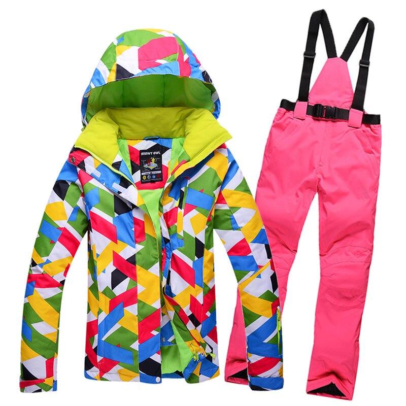 Prix pour De haute qualité en plein air Nouveau Femmes D'hiver Ski Vestes Coupe-Vent imperméable chaud Coloré Top Qualité costumes de ski et ski pantalon