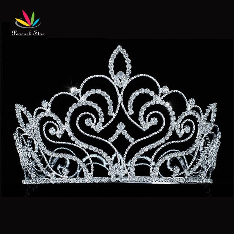 Peacock Star Vintage Style Pageant Beauty Contest Tall 4 5 Tiara Full Circle Round Crystal Crown