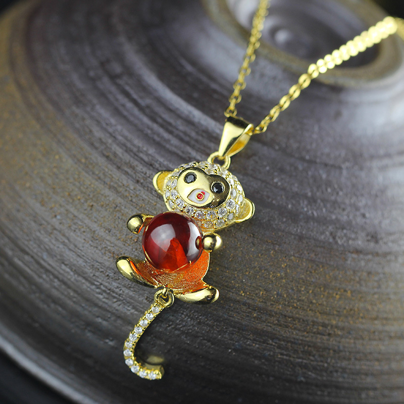 sS925 pure silver jewelry fashion lady beeswax little monkey pendant Year of the monkey line universiade
