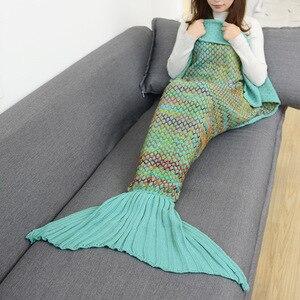 Image 3 - CAMMITEVER הסרוגה סרוג בת ים זנב שמיכת סופר רך כל עונת שינה תיק עבור בנות מבוגרים בני נוער נשים תינוקת מתנה