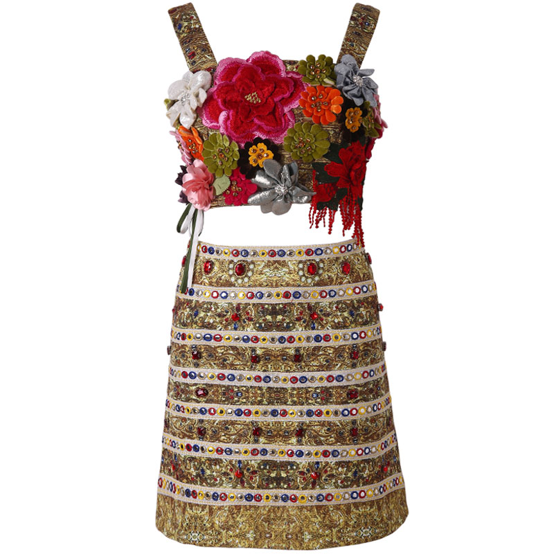 Red RoosaRosee 2019 Runway Women s Twinsets Sexy Flower Embroidery Diamonds Holiday Strap Tops Hollow Skirt