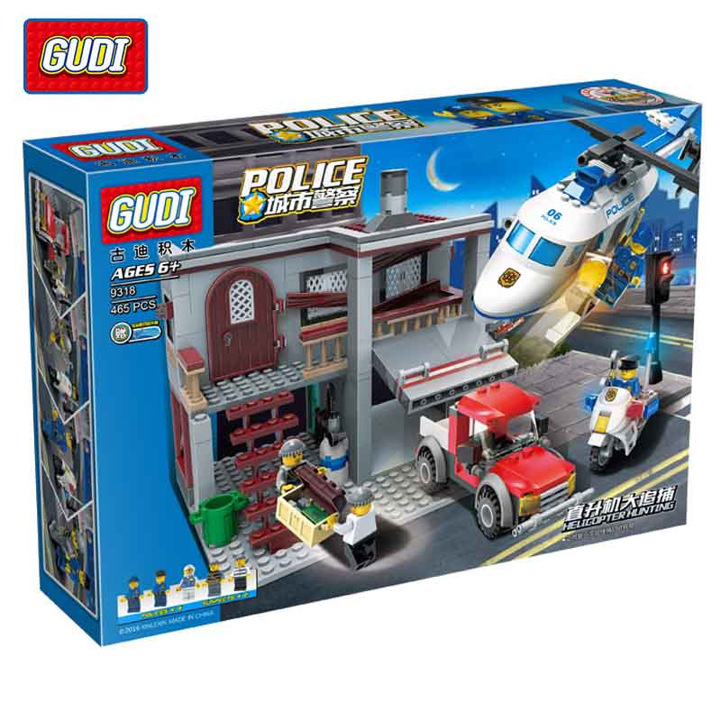 GUDI 465Pcs City Police Series Helicopter Chase Building Blocks Model Building Blocks Kits Assembled Bricks Toys Children Gifts city series helicopter surveillance building blocks policeman models toys children boy gifts compatible with legoeinglys 26017