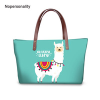 Nopersonality Floral Llama Print Tote Shoulder Bag Casual Neoprene Women Daily Handbags Stylish Female Ladies Top handle Bags