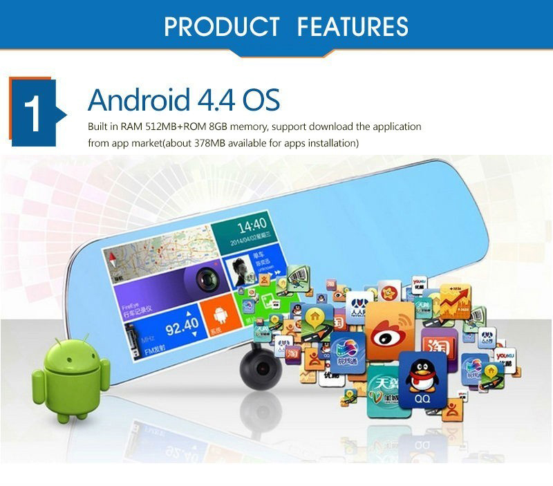 "5.0"" Touch Android 4.4 ROM Dual lens FHD1080P camera WiFi GPS parking car dvrs Rearview mirror video recorder Car DVR 2"