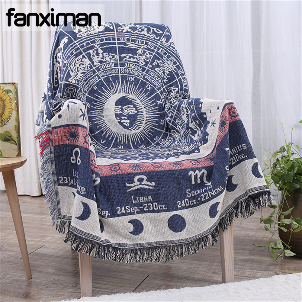 Constellation motif pur coton jeter couverture canapé couverture 130x180 CM fil couverture avec gland décoratif lit feuille tapis de sol