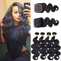 Malaysian Virgin Hair With Closure 8A Unprocessed Human Hair Weave Bundle Malaysian Body Wave with Lace Closure Malaysian Hair