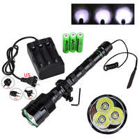 3*XM-L T6 Hunting Light 5 Modes Tactical airsoft under-barrel flashlight +3*18650+20mm Rail Scope Mount+Pressure Switch+Charger