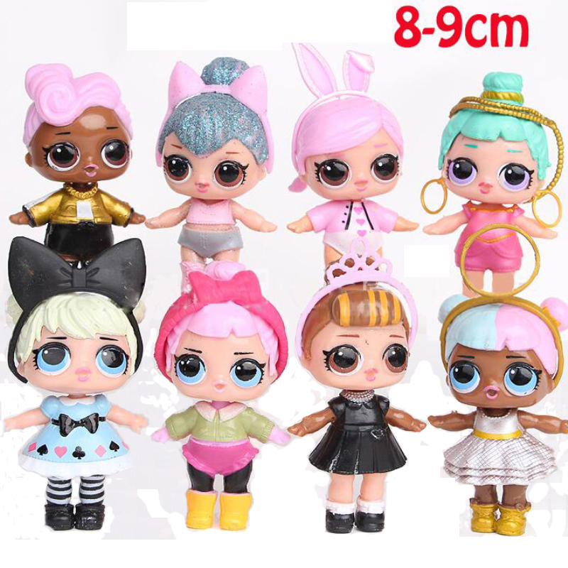 8pcs / 6pcs Cartoon 7-9cm LOL Vampirina Unpacking Dolls Baby Glitter Dolls Figures Action Toys Anime For Kid Birthday Party Gift