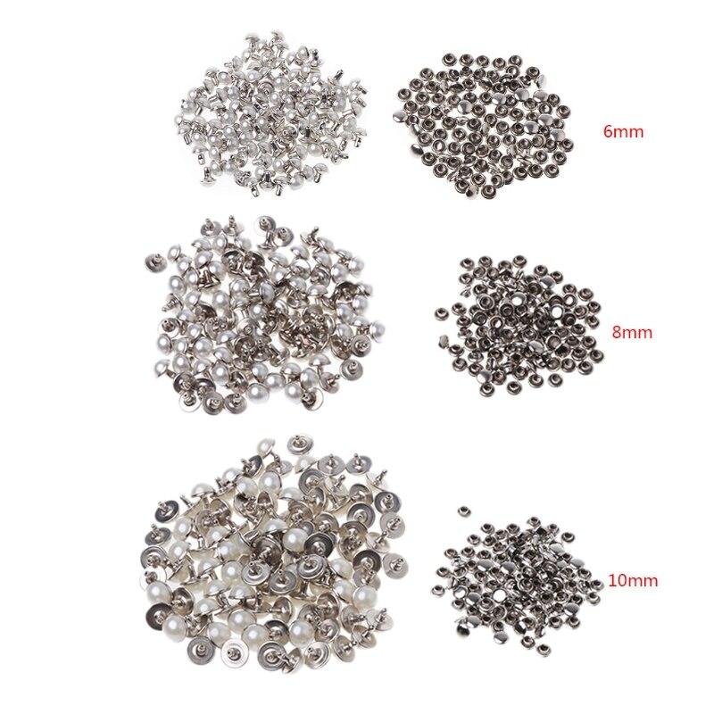 100 компл. жемчугом заклепками 6/8/10 мм для DIY Craft Кожаная Сумка Обувь Одежда украшения