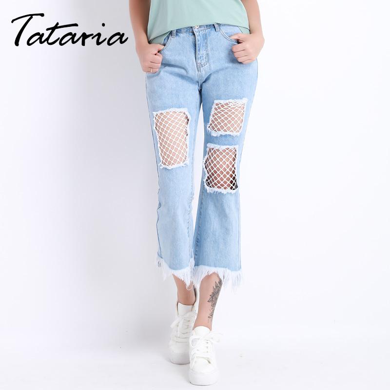 Women Jeans Ripped Flare Denim Pants Ankle Length Tassel Loose Jeans Femme Casual Summer Capris Pantacourt Femme Ete Tataria