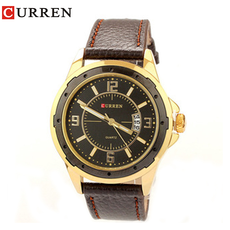 CURREN new fashion casual quartz watch men large dial waterproof chronograph releather wrist watch relojes free shipping 8124 blackhawk field operator watch with black numerals