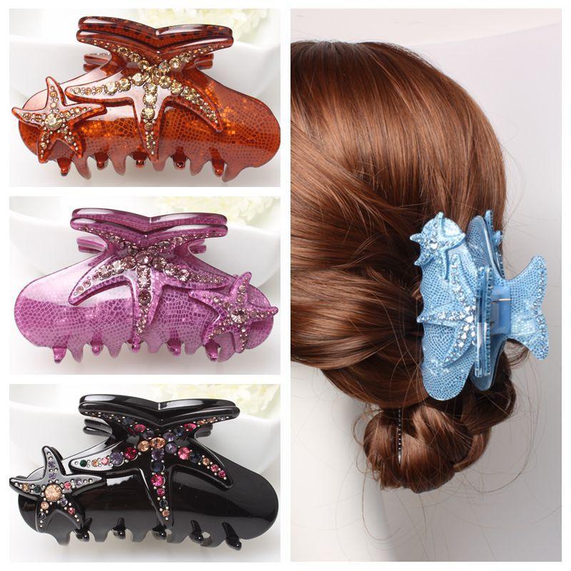 Buena Yeni ürünler Akrilik Rhinestone Denizyıldızı Saç Klip - Kostüm mücevherat - Fotoğraf 6