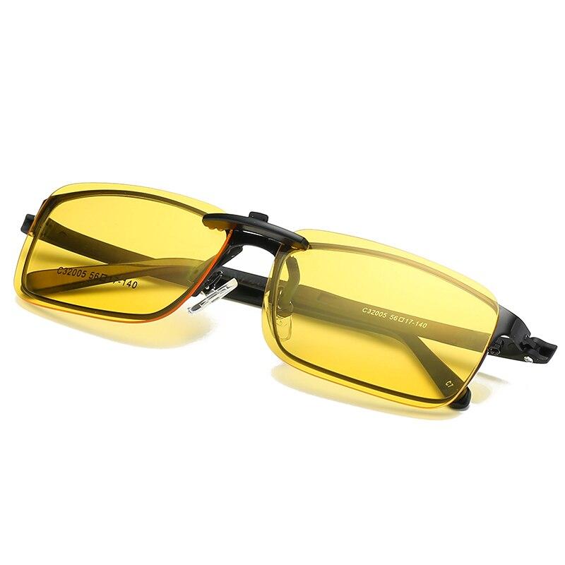 Polarized Sunglasses Clip On Glasses Yellow Lens For Myopia Nearsighted Men Women Night Vision Anti-glare Driving Car Goggle