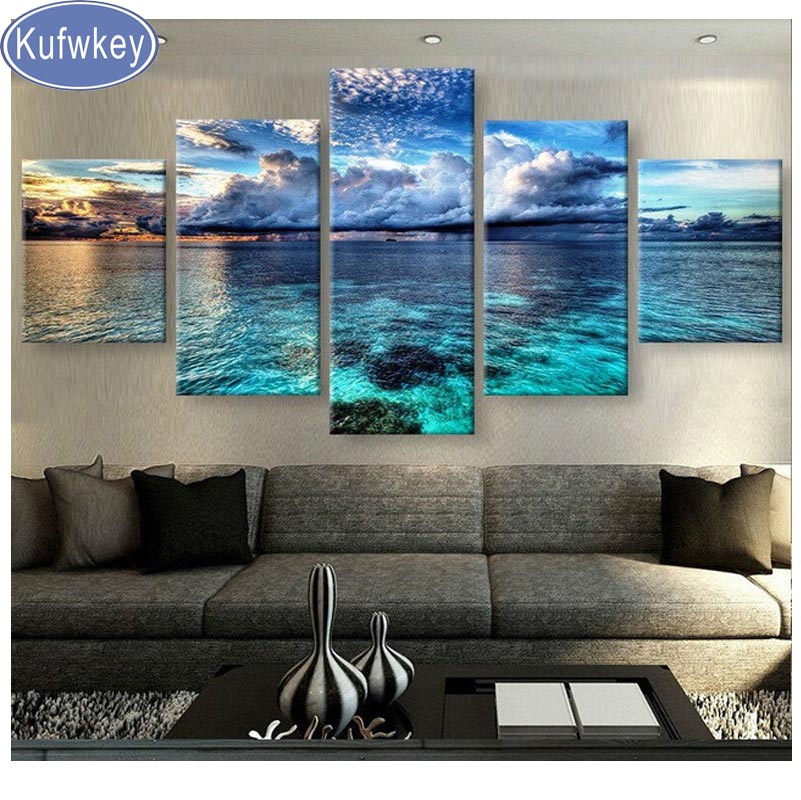 Kufwkey 5pcs diy diamond embroidery CALM WATERS diamond painting full square diamond mosaic cross stitch kits