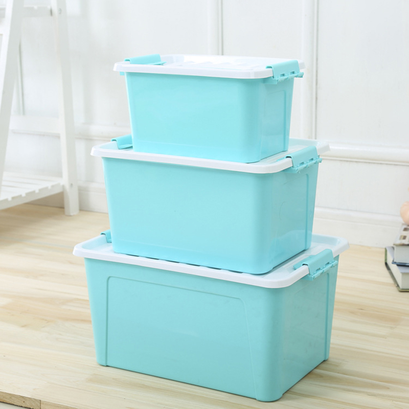 Nail Desktop Storage Box Plastic Makeup Tools Nail Polish Pen Brushes Box Container Manicure Tool M Size Blue/Green/Red