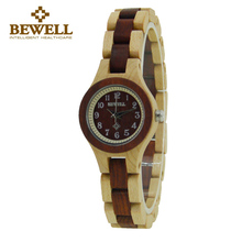 BEWELL Wood Watch Handmade dames horloge Wood Quartz Wristwatch For Women femmes montres Ladies Relogio Feminino with Box 123A