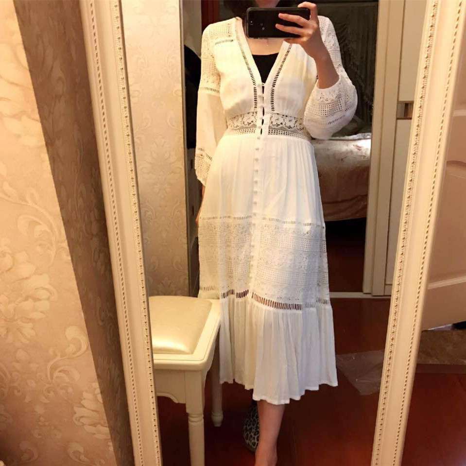 Gratë me grep me dantella me lesh dore me lesh Bohemian Maxi Dress - Veshje për femra