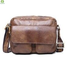Genuine Leather Vintage Men Bags Men Messenger bags Business Men's travel bag New man's leather crossbody shoulder bag Handbags