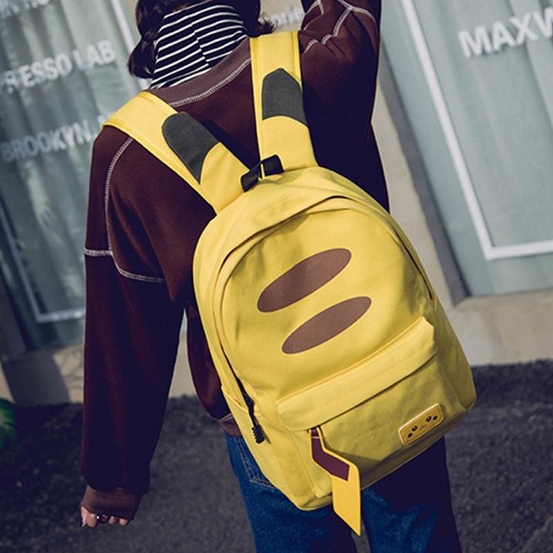 Pokemon Female Travel Backpack Canvas Casual Bag Pikachu Cute School Bags For Teenage Girls Lady's Kawaii Laptop Backpacks Woman