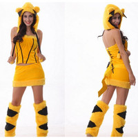 New woman Halloween Sexy Lovely Pikachu costumes Animal Kitty Cat Cosplay Adult Female pajamas Christmas Masquerade party dress