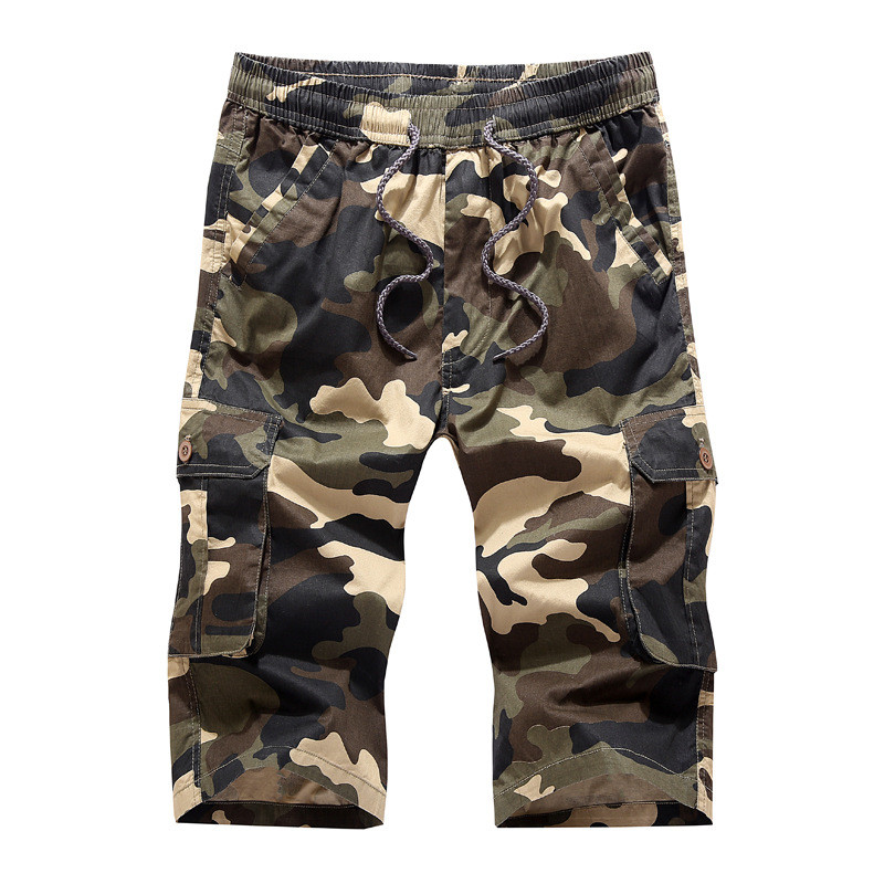 MORUANCLE Men Military Style Camouflage Cargo Shorts Baggy Loose Tactical Short Joggers Drawstring Elastic Waist Plus Size M-4XL