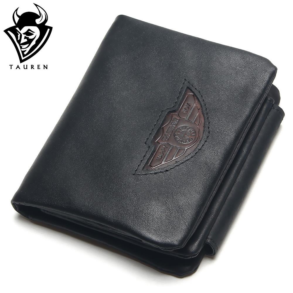 TAUREN Trifold Wallets Men Wallet 100% Design Men Fashion Purse Card Holder Wallet Man Genuine Leather With Zipper Coin Pockets