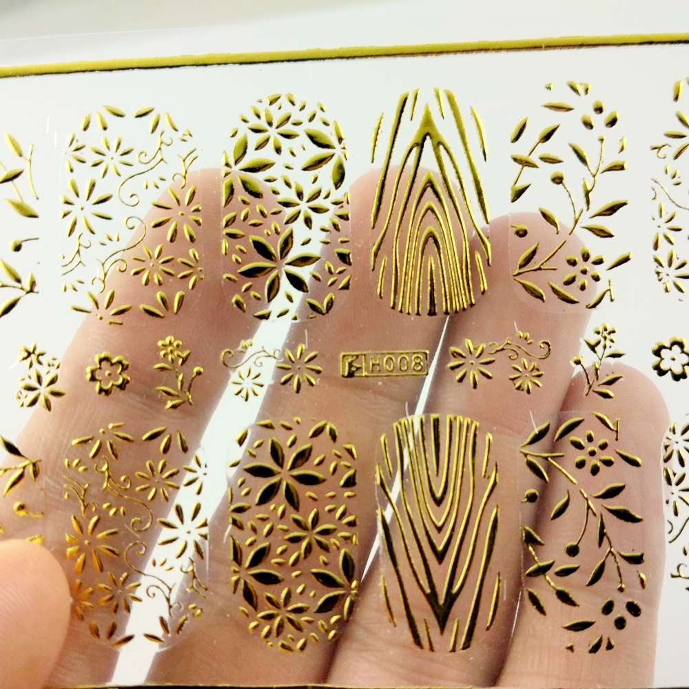 SUPER THIN SELF ADHENSIVE 3D NAIL ART NAIL SLIDER STICKER FULL COVER SILVER GOLD SNOW FLAKE