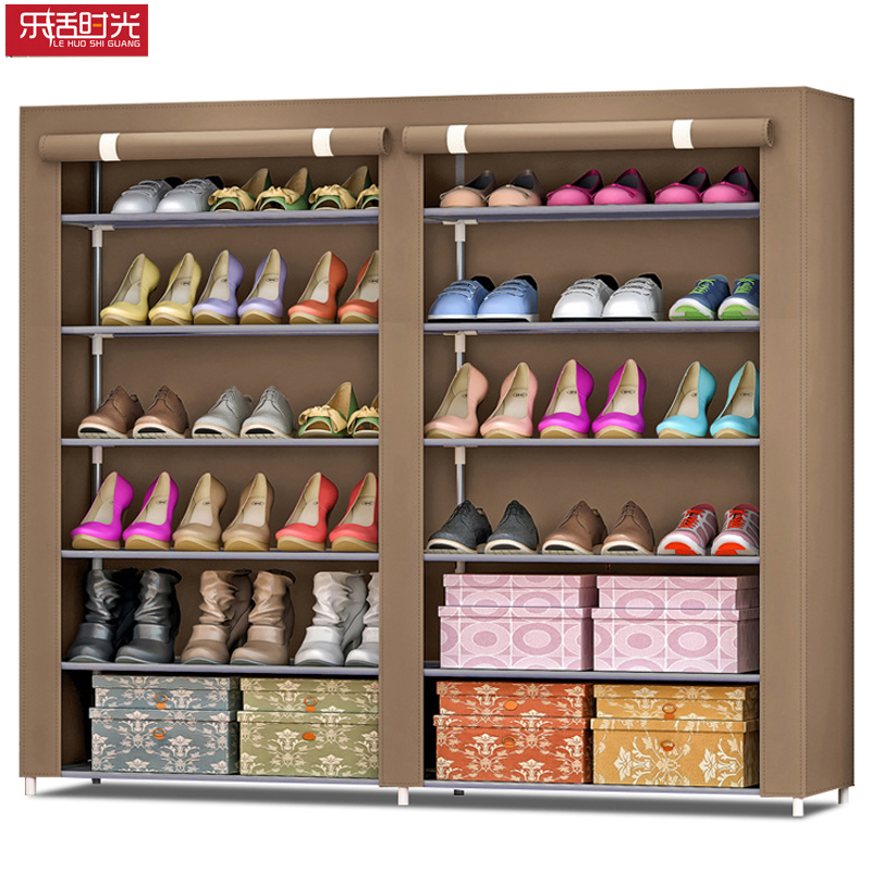 Simple Double Row Shoe Cabinet Thicken Non-woven Damp-proof Steel Pipe Storage Furniture Assembled Living Room Shoe Organizer