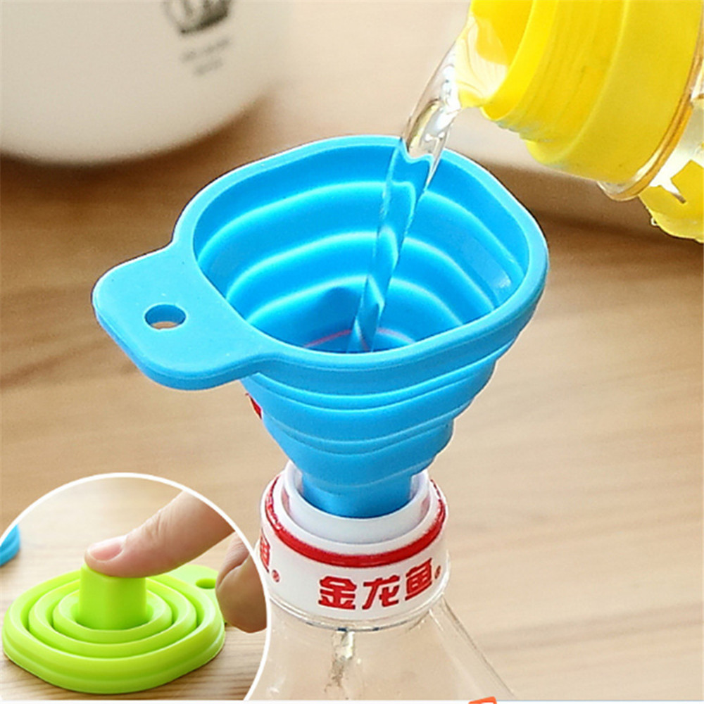Kitchen Home Mini Food Grade Silicone Folding Telescopic Funnel July 08 DropShipping image