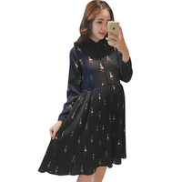 2018 autumn lace patch worked maternity shirts full sleeve loose blouses clothes for pregnant women pregnancy clothing