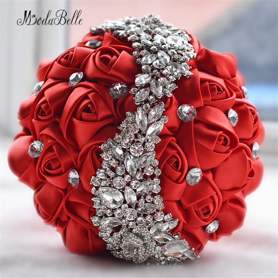 2016 Wedding Flowers Bridal Bouquets Red Artificial Rose Luxury Diamond Crystal Bouquet Wedding Bling Brides Ramo
