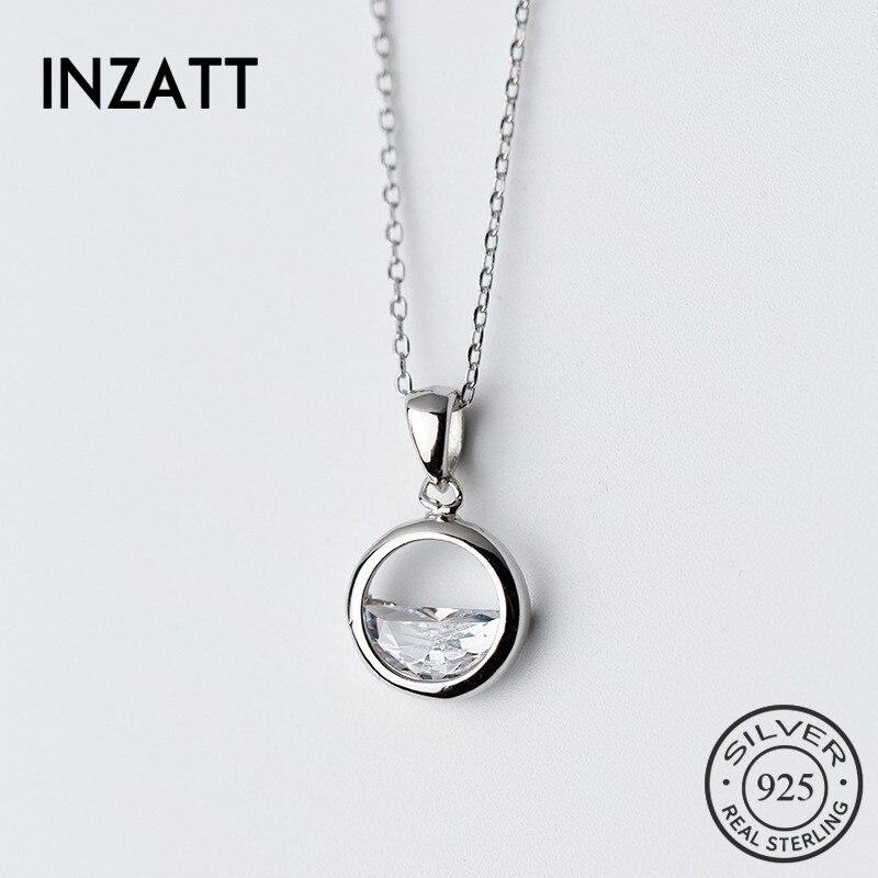 Женское Ожерелье с кулоном INZATT, из серебра 925 пробы с кристаллом